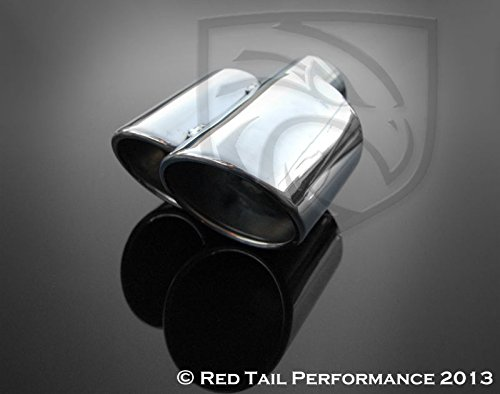(Exhaust Muffler Tip Dual Fused Oval Rolled Edge Porsche Turbo Style Left Side 2.25