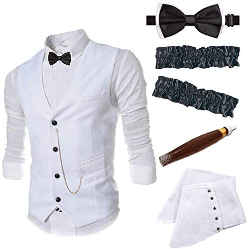 1920s Mens Accessories Gangster Vest Set - Gangster Spats,Armbands,Pre Tied Bow Tie,Toy Fake Cigar,White,XL -