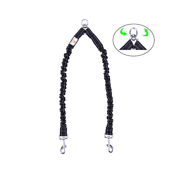 Snagle Paw Tangle Free BungeeX2 Double Dog Leash Coupler, 360° Swivel No Tangle Double Dog Walking & Training Leash, Comfortable Shock Absorbing Reflective Bungee Lead Walk 2 Dogs with Ease 1