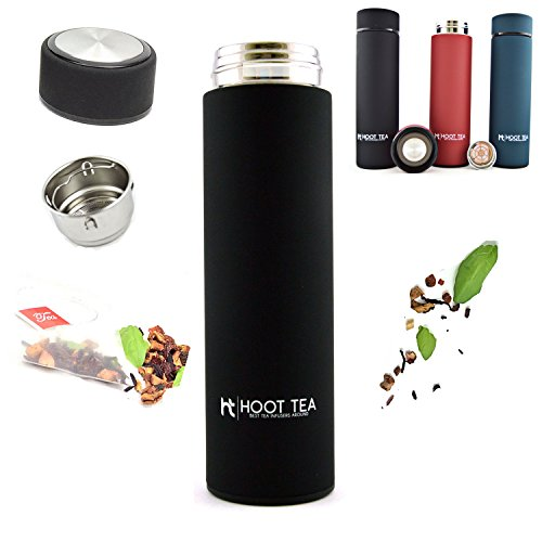 TEA AND FRUIT INFUSER BY HOOT TEA -Stainless Steel Portable Insulated Water Bottle - Great Tumbler for DETOX, LOOSE LEAF, ICE, FRUIT, OILS, And VEGGIES - Silicone TEA BAG FILTER- 12 HOURS HOT 24 COLD
