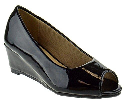 Link Doris 12K Little Girls Pull On Peep Toe Wedge Sandals Black Pat 13