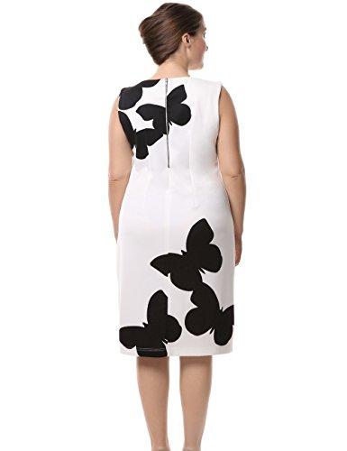 Grandes Sin de Longitud la Vestido Casual Mariposa Oficina Vestido con a Rodilla Chicwe Estampado Mujeres Blanco en Manga Negro Tallas 06wzxxEnI