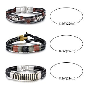 Unisex Aroncent 3pcs Brown Leather Wound-Around Nature Thread Bracelet for Him and Her