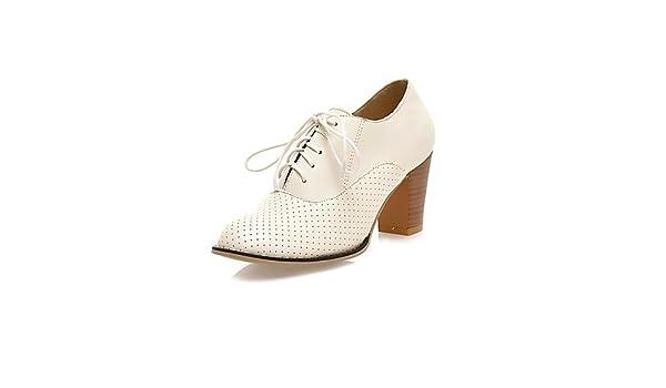 384a95c3 NJX/ hug Zapatos de mujer-Tacón Robusto-Punta Redonda-Tacones-Casual-Semicuero-Negro  / Rosa / Blanco / Beige , black-us5.5 / eu36 / uk3.5 / cn35 ...