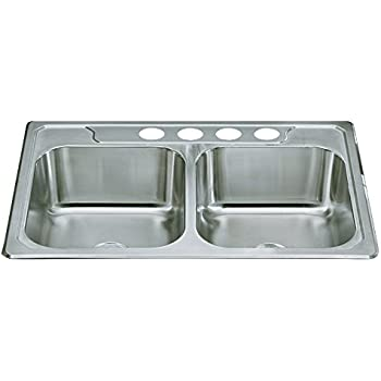 Sterling 14707-4-NA Middleton 33-inch by 22-inch Top-mount Double Equal Bowl Kitchen Sink, Stainless Steel
