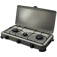 Plaque de cuisson gaz portable 3 feux 4100 W SILVER 3 butane- propane Gris alu - Bruleur inox - couvercle