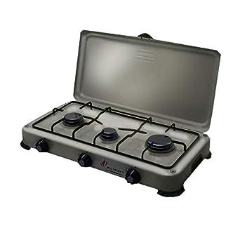 Plaque de cuisson gaz portable 3 feux 4100 W SILVER 3 butane- propane Gris  alu 37104a6c168e