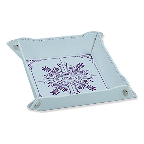 LISRSC Leather Valet Tray for Men,Phone Wallet Organizer Tray, Bedside Storage Box with Embossed Patterns (White & Purple)