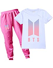 BTS Girls T-Shirt and Trousers Set Unisex Fashion T-Shirt for Kids Tracksuit for Boys Girls Sport Outfit