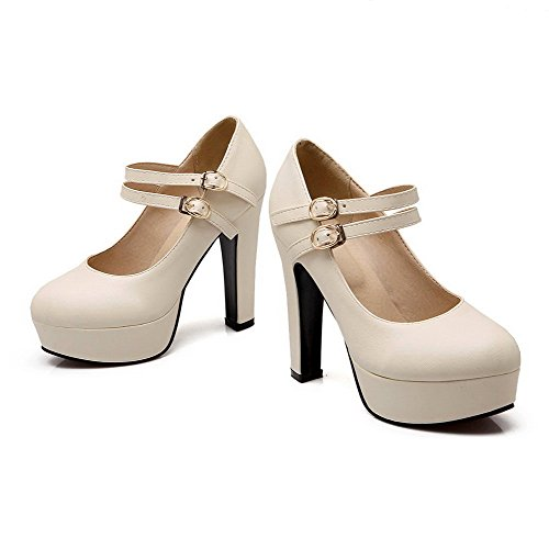VogueZone009 Women's Round Closed Toe High-Heels Soft Material Solid Buckle Pumps-Shoes Beige DRleRQH3c