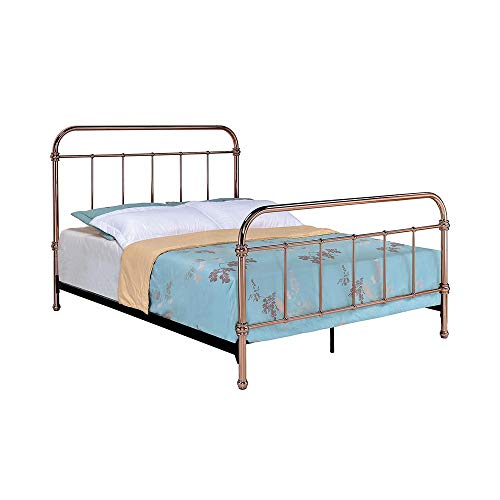 (Benzara BM123593 Twin Size Metal Bed with Spindle Accents, Rose)