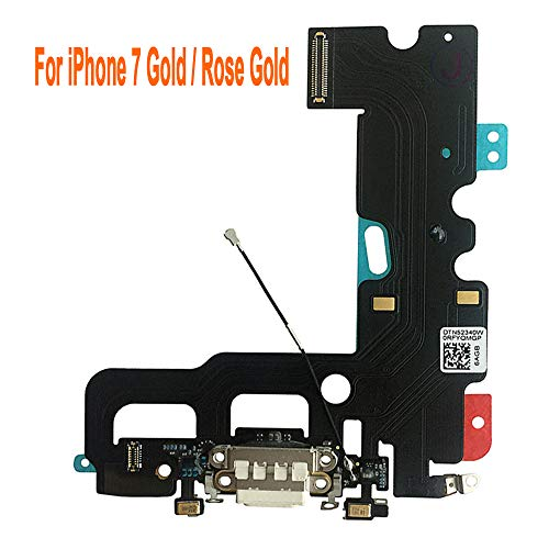 Johncase Charging Port Dock Connector Flex Cable + Microphone + Cellular Antenna + Vibration Motor Connector Replacement Part Compatible iPhone 7 4.7 All Carriers (White)