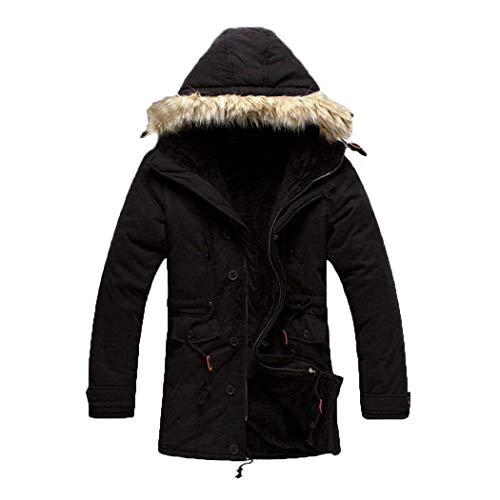 Caldo Capospalla Invernale Uomo Abbigliamento Addensare Giacca Di Con Pelliccia Incappucciato Cappotto Parka Schwarz Lunga Manica 7qOOFwn4xf