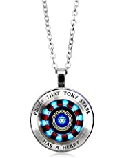 Iron Man Heart Time Gemstone Necklace Poly Energy Fashion Pendant Necklace Sweater Chain for Unisex