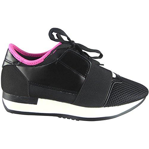Damen Laufen Gym die Sportarten Spitze Oben Schuhe Größe 36-41 SCHWARZ/ FUCHSIE