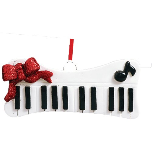 Personalized Keyboard Christmas Tree Ornament 2019 - Piano Keys Red Glitter Bow Treble Clef Pianist Recital Orchestra Hobby Profession Teacher Music Instrument DJ Year - Free Customization