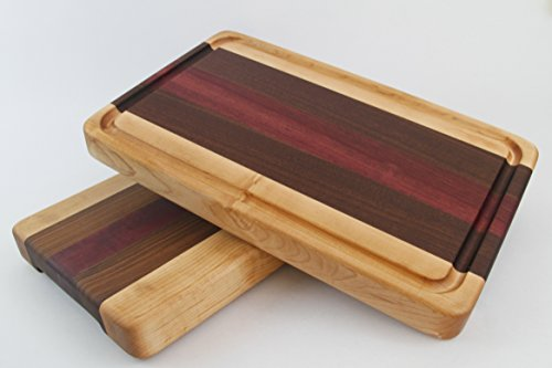 Handcrafted Wood Cutting Board - Edge Grain - Walnut, Purpleheart & Maple. No slip and easy grips. Optional juice groove. For Chefs or cooks