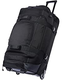 Ripstop Rolling Travel Luggage Duffle Bag With Wheels - 32.5 Inch, Black