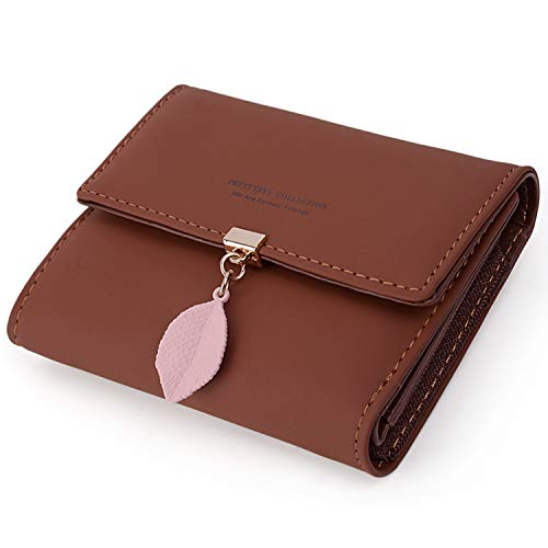 Glamour Business Card - UTO Small Wallet for Women PU Leather Leaf Pendant Card Holder Organizer Zipper Coin Purse Brown