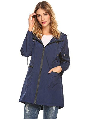 Blue Womens Windbreaker (Zeagoo Women's Quick Drying Waterproof Outdoor Raincoat Windbreaker Navy Blue)