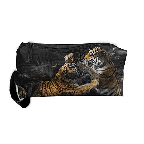 Portable Outdoor Cosmetic Toiletry Clutch Bag Accessories Organizer Case Travel Home Use Zipper Oxford Tigers Fight And Bite Storage Pouch Pencil Case ()