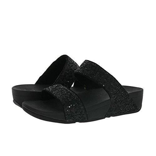 Fitflop Glitterball Slide, Sandalias con Plataforma para Mujer Negro (Black)