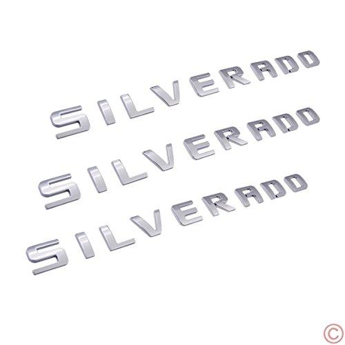 Nameplate Letter Script Emblems Badge for Chevrolet Silverado 2007-2015 [Chrome Silver] ()