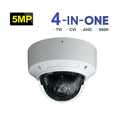 HDVD 4-In-1(TVI/AHD/CVI/CVBS), 5MP, 3.3-12mm, DC12V, WDR, Wide Angle Lens, Night Vision up to 30M, Outdoor/Indoor Vandal Dome Type CCTV Surveillance Cameras