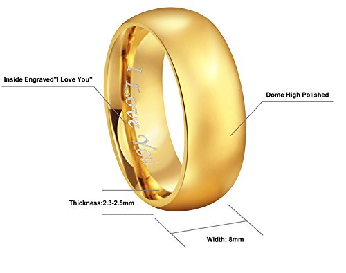 CROWNAL 4mm 6mm 8mm Tungsten Wedding Couple Bands Rings Men Women 24K Gold Plated Plain Dome Polished Engraved I Love You Size 4 To 17 (8mm,11) by CROWNAL (Image #2)'