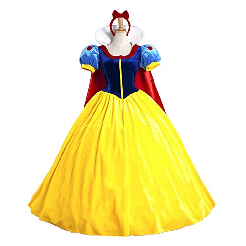 Snow White Deluxe Adult Womens Costumes (Quesera Women's Snow White Costume Classic Character Cosplay Deluxe Halloween Costume, Yellow, TagsizeL=USsizeM)