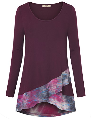 Timeson Tunic Shirt  Casual Flared Tunic Tie Dye Loose Fit Tops Deep Red M