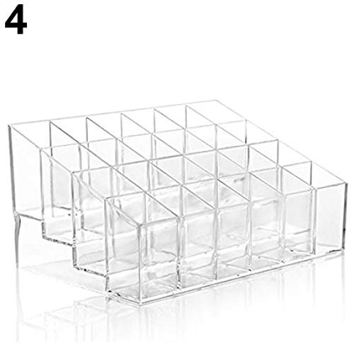 Lip Display Balm Counter (24-Grid Lipstick Lip Gloss Trapezoid Holder Essential Oils Display Stands Dropper Bottle Nail Polish Organizers Shelf Rack Makeup Cosmetic Brushes Holder for Home Store Shop Checkout (Transparent))