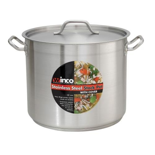 Winco SST-8, 8-Quart 6.75-Inch High 9.5-Inch Diameter Stainless Steel Stock Pot With Cover, Master Cook with 5 Millimeter Thick Aluminum Core