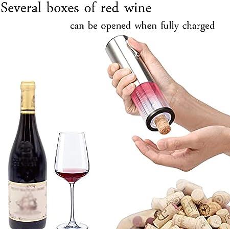 XJYZ Sacacorchos De Vino Eléctrico Juego De Vino Sacacorchos De Vino De Acero Inoxidable con Cable De Carga USB Cortador De Papel De Vino Tapón De Vino Aireador Pourer