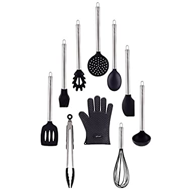 10 Piece Silicone Cooking Utensils Set with Stainless Steel handles By Chef Essential