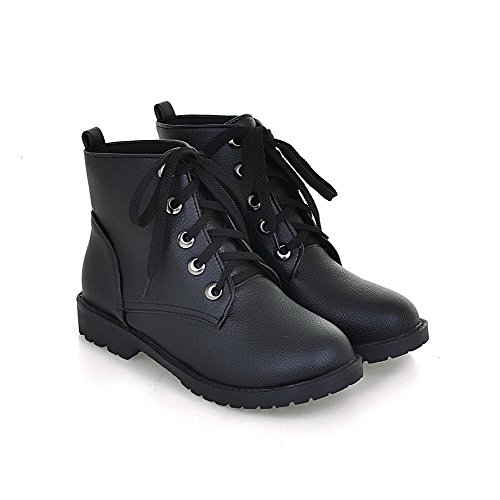 AllhqFashion Womens Low-Top Solid Lace-Up Closed Round Toe Low-Heels Boots Black GPieJM9q