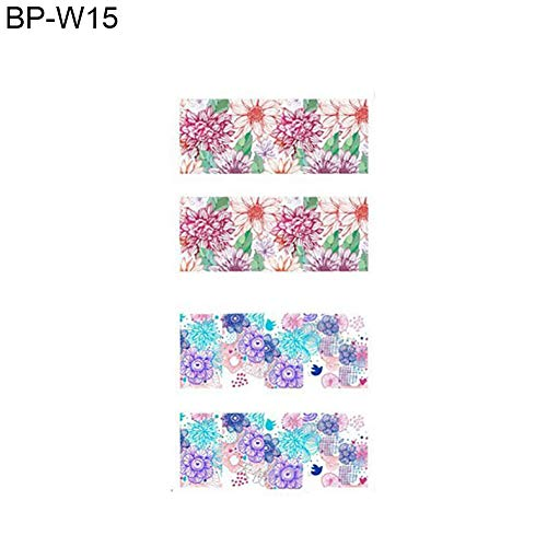 YuYe Blooming Flower Nail Art Water Decals Transfer Women Makeup Finger Care Stickers - BP-W15 ()