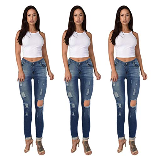 conqueror Femmes Taille Haute Jeans Trou Denim Stretchy Skinny Slim Pantalon Pantalon Pantalon Bleu
