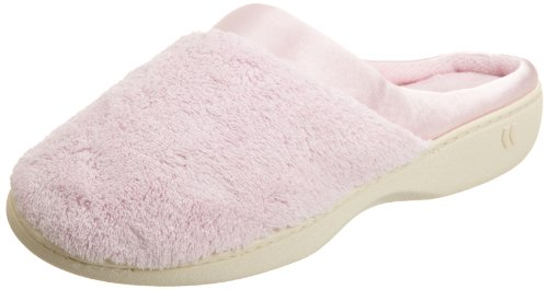 Isotoner Women's Microterry PillowStep Satin Cuff Clog Slippers, Peony, 7.5-8 B(M) US