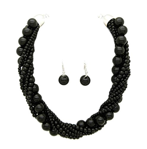 Fashion 21 Women's Twisted Multi-Strand Simulated Pearl Statement Necklace and Earrings Set (Black Tone)