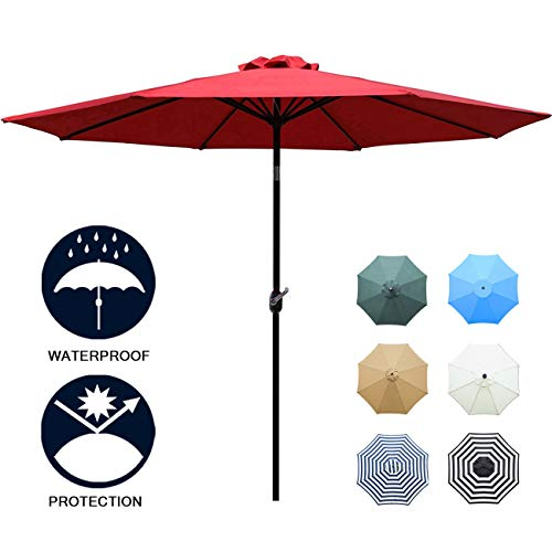 Umbrella Outdoor Table Umbrella with 8 Sturdy Ribs (Red) ()
