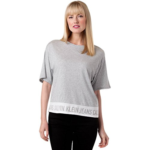 Logo Tee Ladies (Calvin Klein Jeans Women's Mainline Banded Logo Tee | Monrning Grey Medium)