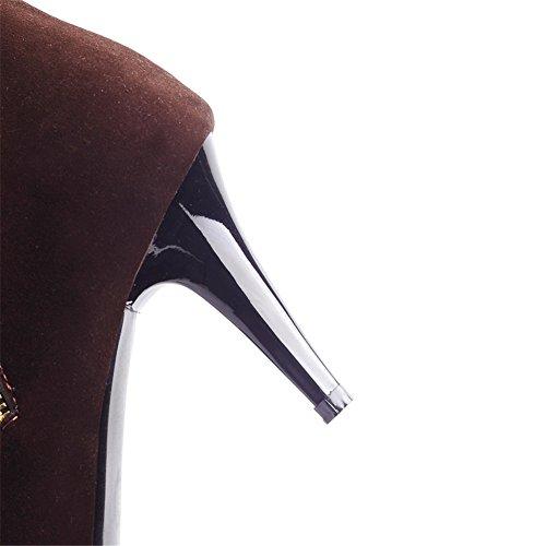 Moda Heel Mujeres Stiletto Tacón Alto Rodilla Punta Redonda Botas Marrón
