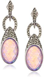 "Judith Jack ""Tropical Breeze"" Sterling Silver Marcasite Purple Opal Linear Drop Earrings"