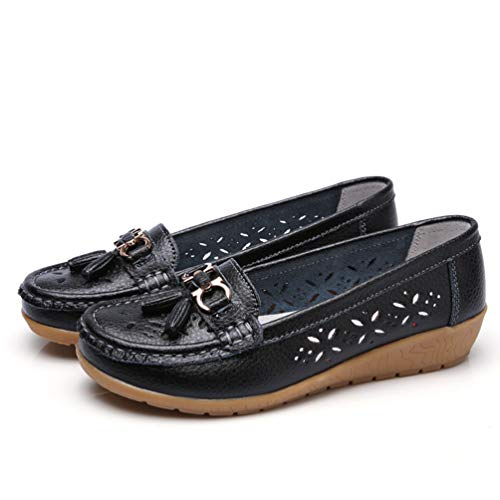 JOYBI Women Casual Boat Shoes Leather Round Toe Comfortable Slip On Breathable Fringe Fashion Flat Loafers Black