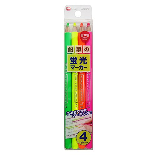 KUTSUWA Hi LiNE Highlighter Pencil, 4 brilliant fluorescent colors/set, 1 Set, Yellow, green, Pink, Orange (PA001)