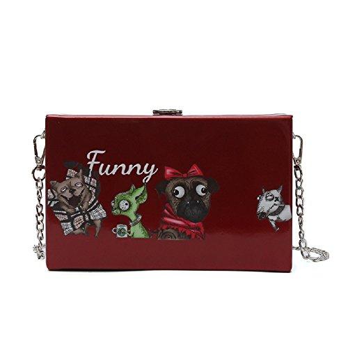 ZHRUI à Chien à Messenger Mode Sacs la Sac Petit carré Rouge Main Bag wFFnxSZ