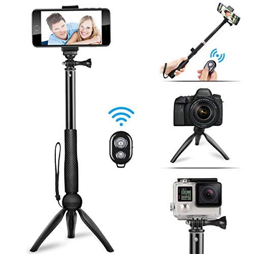 Phone Selfie Stick with Tripod,2019 New Best Selfie Stick,Portable and Flexible Mini Tripod with Bluetooth Remote Control,Extendable Monopod with Built-in Bluetooth Remotero