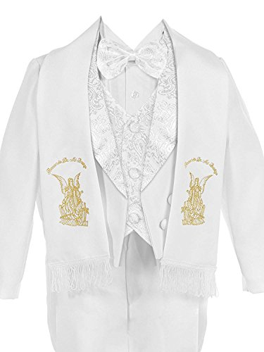 iGirldress Baby Boys White Baptism Christening Paisley Lapel Tuxedo with Gold Angel Estola Scarf Size S (0-6 ()