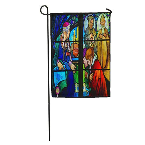 Semtomn Garden Flag Prague Czech Republic April Stained Glass Window in St Vitus Home Yard House Decor Barnner Outdoor Stand 28x40 Inches Flag